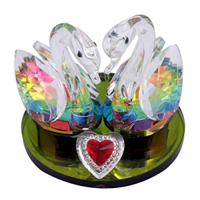 Feng Shui Pair of Crystal Mandarin Ducks Showpiece for Love Life and Relationships