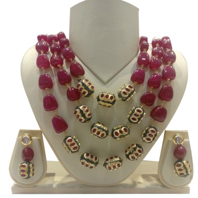 Ratnatray Long Three Layered Red Carnelian Artificial Beads Necklace and Ear Tops | Traditional Stylish Ethnic Jewellery For Girls and Women
